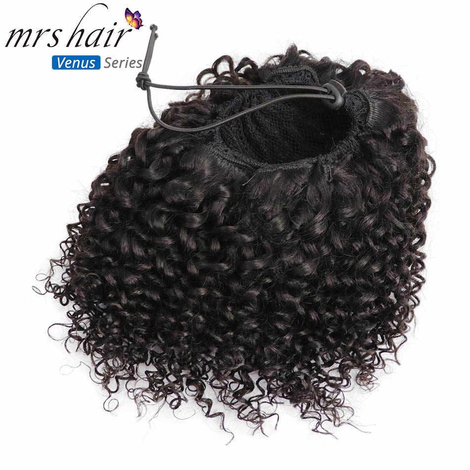 MRSHAIR Afro rizado Cola de Caballo Puff pelo virgen para mujeres negras pelo 4b 4c Coily cordón Perruque Afro Chevaux Clip In