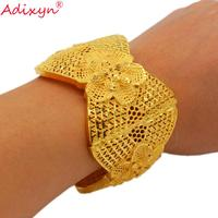 Adixyn (can open) Width Bangle Jewelry Dubai Bracelet Gold Color Arab African Women Wedding Gifts N01043