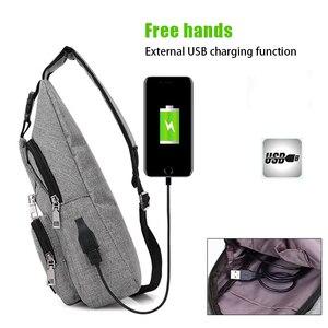 Image 3 - Acoki USB Lade Schulter Crossbody tasche Männer Einbrecher Stealth Zipper Elektronische Kit Brust Pack Abweisend tasche Anti diebstahl Pack