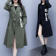 Plus Size Fashion Harajuku Print Trench-coat for Women Autumn Long-sleeved Casual Solid Long-coat Streetwear Loose Windbreaker new product plus fertilizer to increase windbreaker british fashion coat woven solid color trend loose women s long coat