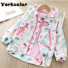 Toddler Girls Long Sleeve Cartoon Jacket with Hood Winter Outerwear Windbreaker Fashion Outfits for 2 7years Old Girls Clothes