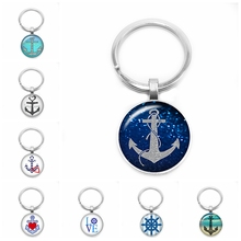 2019 New Pirate Anchor Key Ring Voyagers Keychain 25mm Glass Cabochon Gift Jewelry