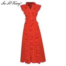 Seasixiang Fashion Designer Summer Chiffon Dress Women V-Neck Butterfly Sleeve Ruffles Big Pendulum Pleated Dresses