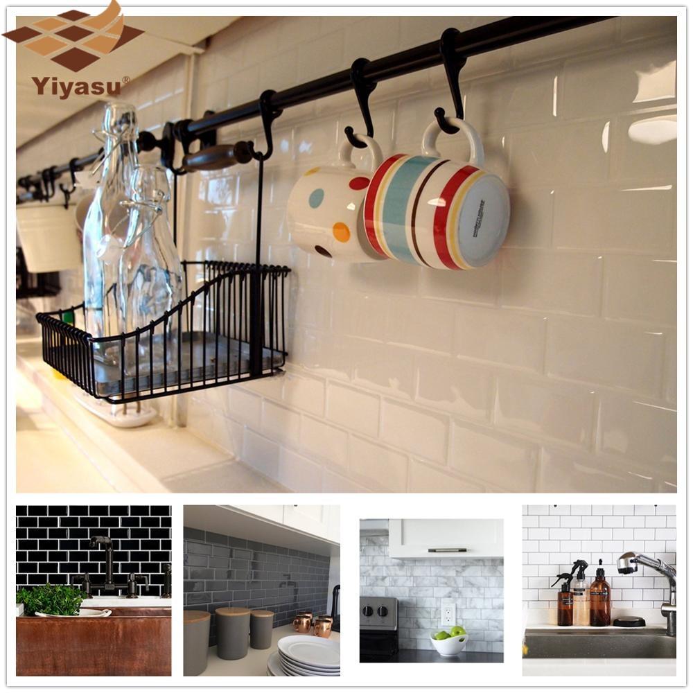 Subway Tile Self Adhesive WallPaper Backsplash 3D Sticker Vinyl Bathroom Kitchen Home Decor DIY