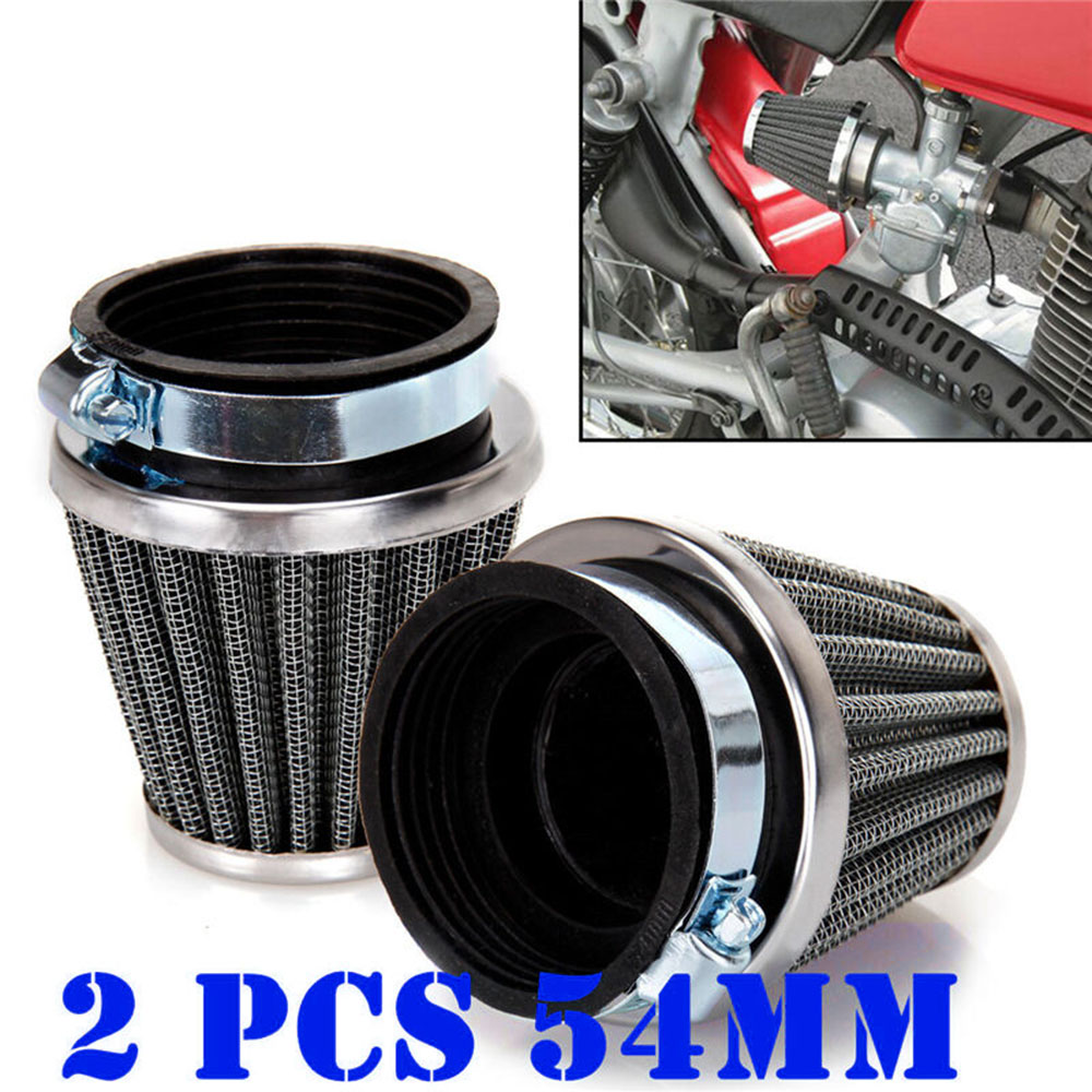 2x Motorcycle <font><b>54mm</b></font> Tapered Chrome Pod <font><b>Air</b></font> Intake <font><b>Air</b></font> <font><b>Filters</b></font> Iron + Plastic image