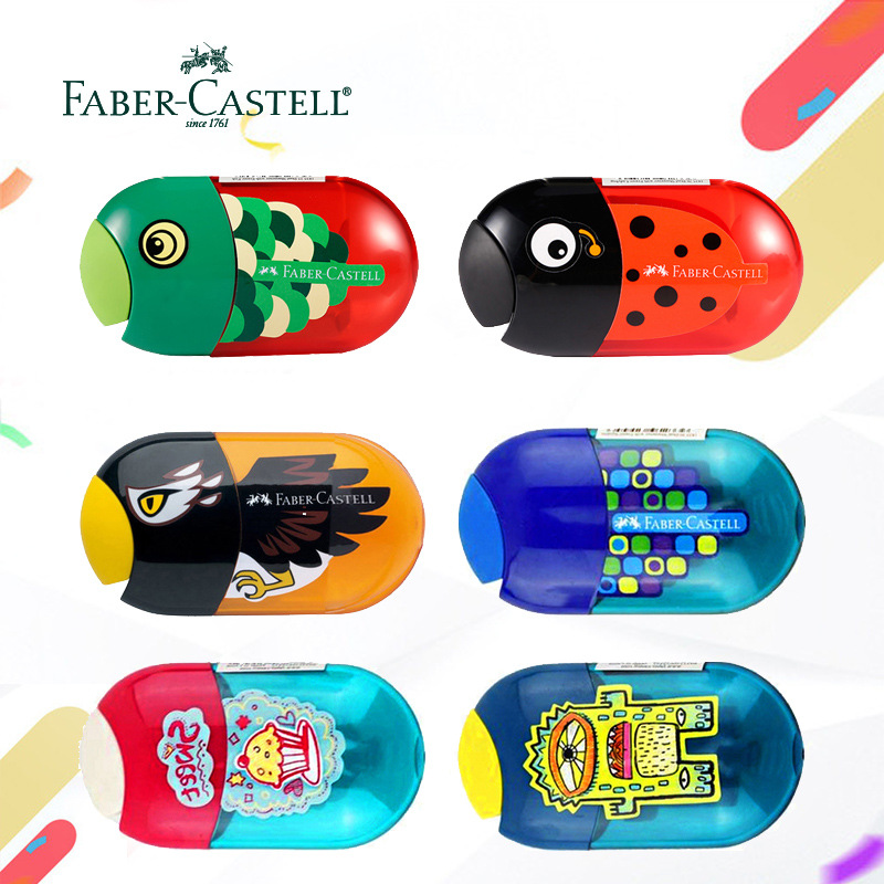 FABER-CASTELL Cartoon Pencil Sharpener Creative Double Hole Mechanical Pen Knife With Eraser Kawaii Animal Stationery Supplies