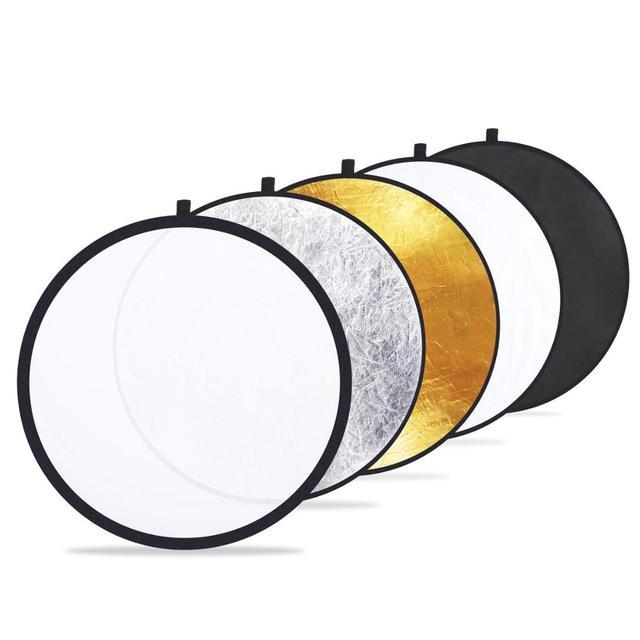 5 in 1 การถ่ายภาพสะท้อน Reflectors สำหรับถ่ายภาพสะท้อนแสงพับได้โปร่งแสง,เงิน,ทอง, สีขาว,สีดำ