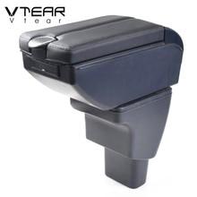 Vtear For Hyundai i10 car accessories armrest leather arm rest usb storage box decoration center console car styling auto 2018