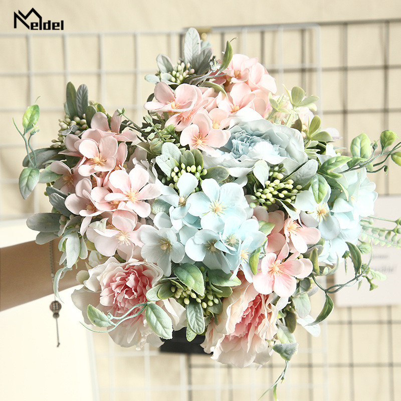 Meldel Bridal Bouquet Camellia Artificial Peony Rose Flowers Silk Fake Flores Wedding Flower DIY Home Garden Party Decorations