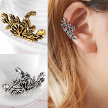 Vintage Hollow Long U-shaped Lotus Ear Bone Folder No-Pierced Ear Clip Earrings For Women 2019 Fashion Jewelry Party Gift WD491 women s fashion rhinestone inlaid hollow out u style ear bone clip golden siilver