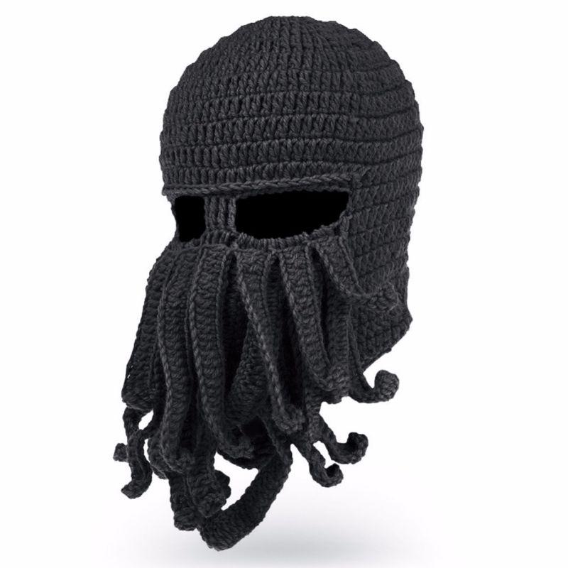 Для мужчин Для женщин забавные креативные щупальца черного осьминога вязаная шапка с длинным в виде бороды Кепки зимняя Балаклава для тепл...