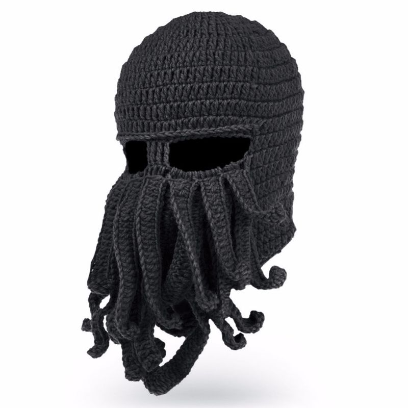 Men Women Creative Funny Tentacle Octopus Knitted Hat Long Beard Beanie Cap Balaclava Winter Warm Halloween Costume Cosplay Mask