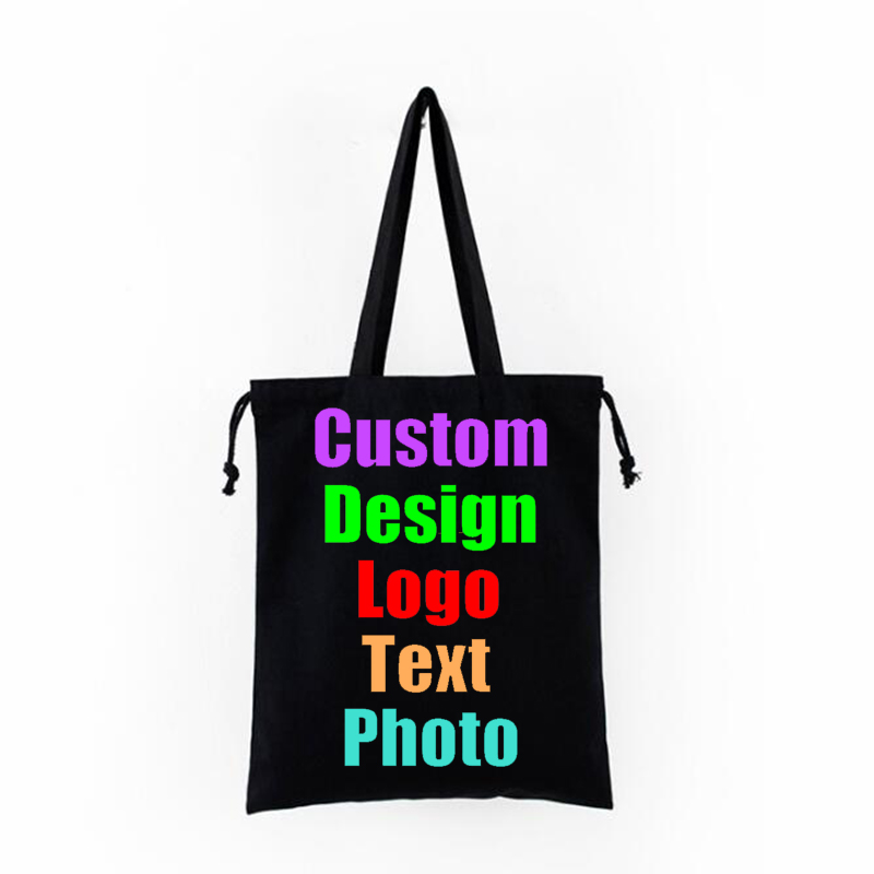 Custom Text Print Tote Bag Shopping Add Your  Original Design White Zipper Unisex Fashion Travel Canvas Bags