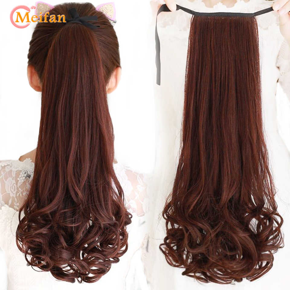 MEIFAN Long Wave Curly Synthetic Clip in Hair Tail False Ponytail Hairpiece Ribbon Drawstring Wrap on Pony Tail Hair Extension