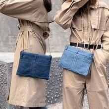 Canvas denim small bag honey bunny bag bf wind hip hop clutch bag messenger bag