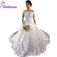 Vestido De Noiva 2019 Long Sleeves Wedding Dress Off the Shoulder Wedding Gown Tulle Appliques Bride Dress Luxury