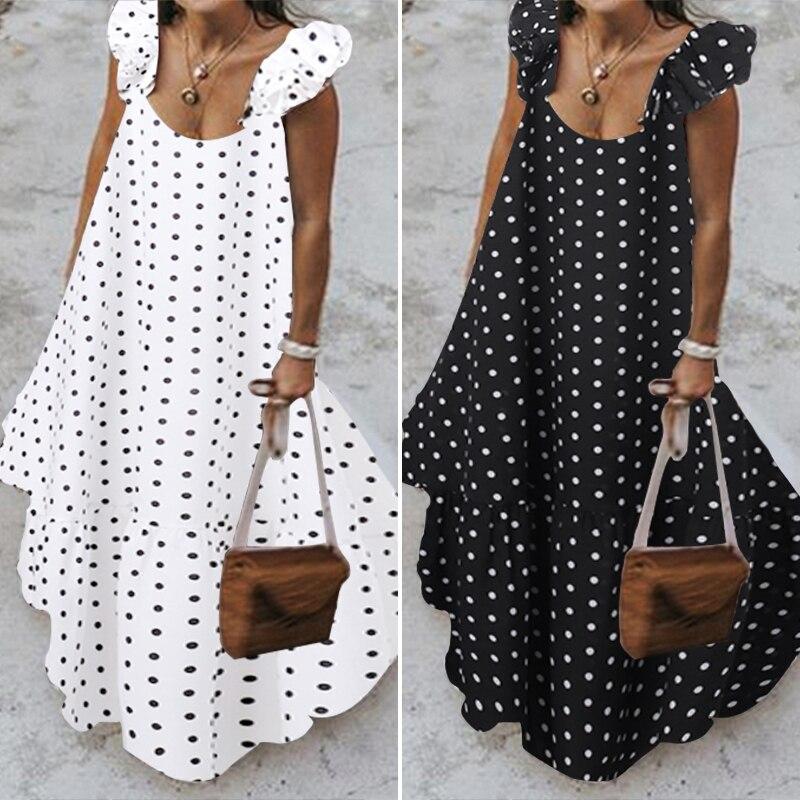 ZANZEA 2019 Summer Leopard Sundress Women Bohemian Polka Printed Maxi Dress Casual Female Sleeveless Robe Long Ruffles Vestidos