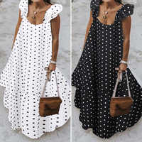 Zanzea 2020 verão leopardo vestido de verão das mulheres boêmio polka impresso maxi vestido casual feminino sem mangas robe longo babados vestidos