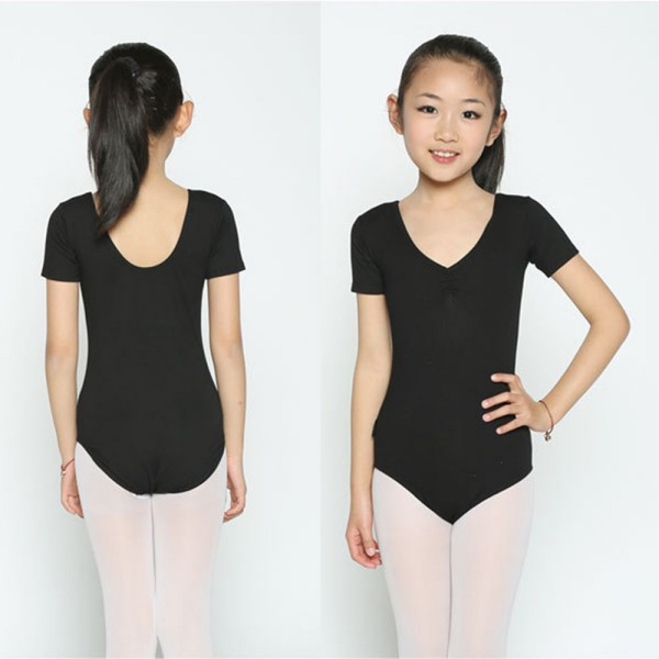 Short Sleeves Gymnastics Leotard For Girls Ballet Kids Children Toddler Lycra Black Dancewear Dance Costume Jumpsuit Kid