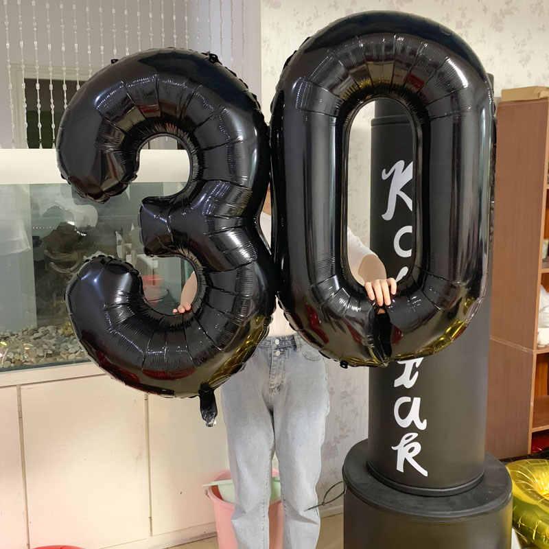 كبيرة 40 بوصة الأحمر/روز الذهب الألومنيوم احباط عدد البالونات 0-9 بالونات عيد ميلاد الزفاف حزب الديكور الكبار أطفال الهواء Globos