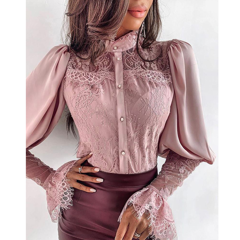 Women Lace Patchwork Flare Sleeve Buttoned Blouse Chic Elegant Spring Fall Office Stand Collar  Shirt Chiffon Solid Casual Tops
