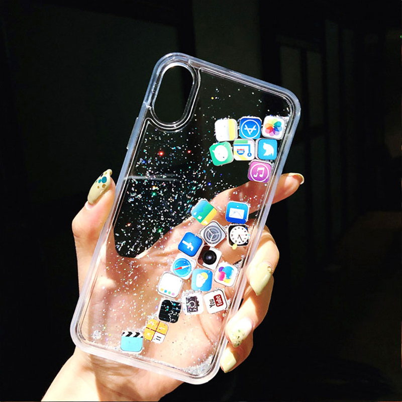 For iPhone 6 6s 7 8 Plus luxury Dynamic liquid Glitter Phone Case For iPhone 8 X XR XS MAX Quicksand Cover Cute APP icon Case