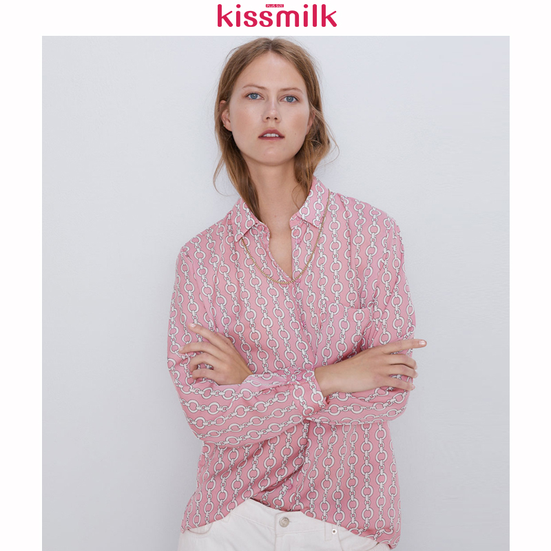 KISSMILK 2020 New Fashion Spring Summer Solid Color Geometric Print Plus Size Loose Long Sleeve Women