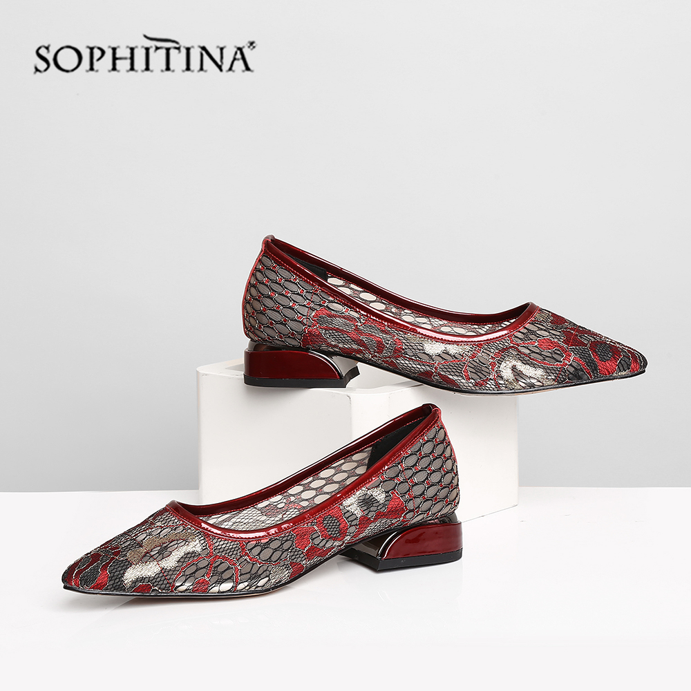 Cheap SOPHITINA Summer Women Flats Pointed Toe Square Heel Low Embroider Hollow-Out Shallow Shoes Mesh Cow Leather Casual Flats MO434