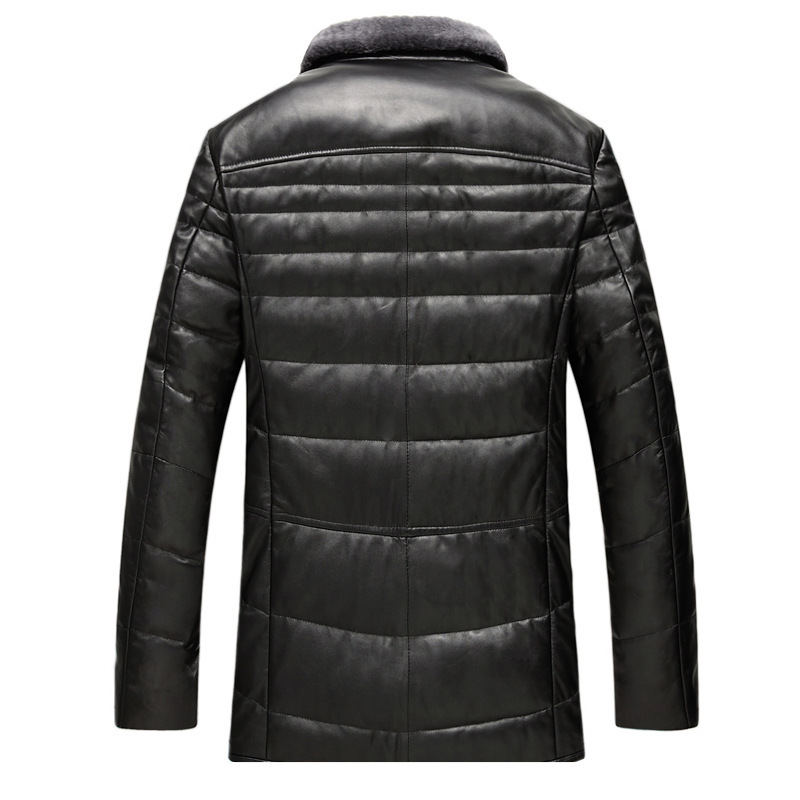 Genuine Leather Jacket Men Sheepskin Leather Wool Fur Collar Coat Winter Top Quality Plus Size Outwear GSJ8328B MF051