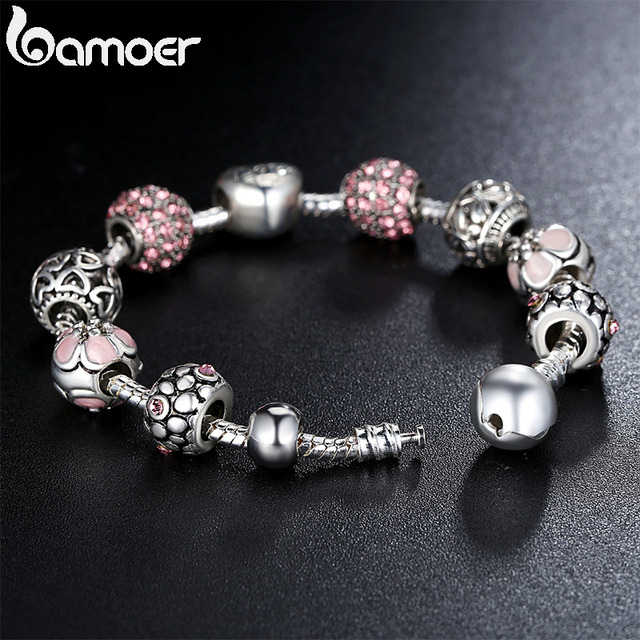 BAMOER Silver Plated Charm Bracelet & Bangle with Love and Flower Beads Women Wedding Jewelry 4 Colors 18CM 20CM 21CM PA1455
