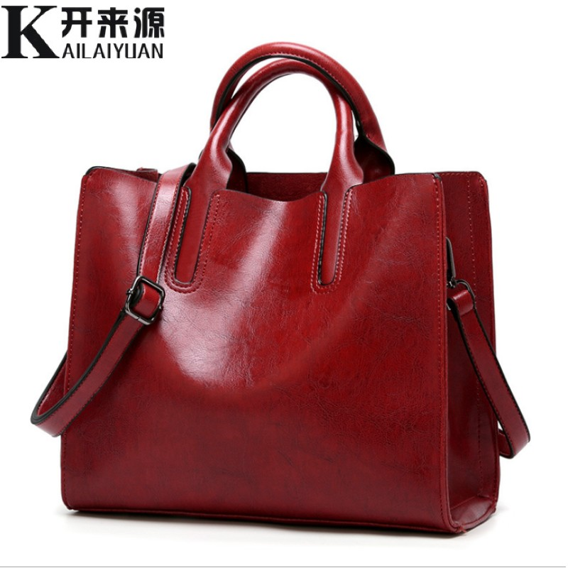 100% Genuine Leather Women Handbags 2019 New Handbags Cross-border Goods Simple Handbag Ms. Briefcase Shoulder Messenger