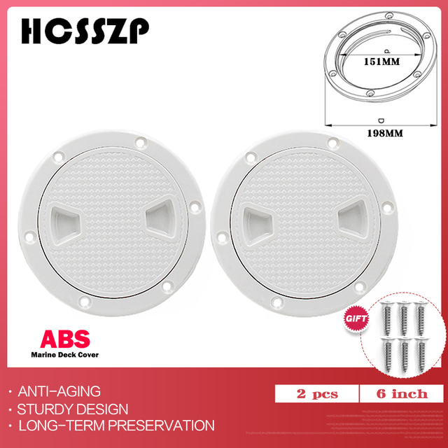 """2 Pcs 6"""" ABS Round Inspection Hatch Tight Screw Out White Anti corrosive Inspection Access Deck Plate for Marine Boat Yacht"""