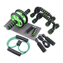 Abdominal Wheel Ab Roller Set Resistance Bands Push Up Stand Bar Home Exercise Bodybuilding Muscle Training Fitness Equipment