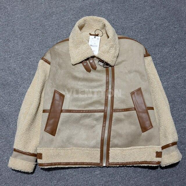 New Winter Women Thick Vintage Splice Suede Jacket Coat Loose Warm Lambswool Biker Outwear Female Oversize Faux Leather Overcoat 6