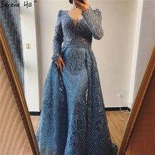 فستان سهرة بأكمام طويلة باللون الأزرق من سيرين هيل دبي 2020 برقبة على شكل حرف v مصنوع يدويًا من الكريستال مثير من الدانتيل الأزرق العربي فستان الحفلات الرسمية CLA70159