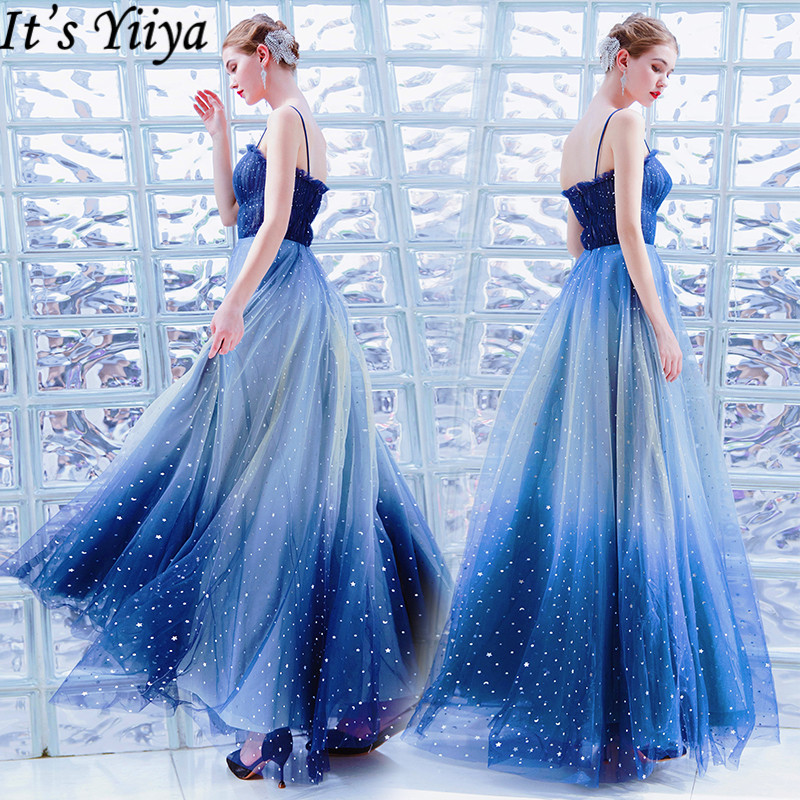 It's Yiiya   Evening     Dress   2019 Elegant Star Pattern Sleeveless Spaghetti Strap Gowns Sexy Backless Party Formal   Dresses   E917