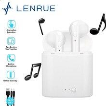Lentrue tws i7s fones de ouvido sem fio bluetooth 5.0 fones de ouvido esporte fones de ouvido em-orelha com microfone caixa de carregamento
