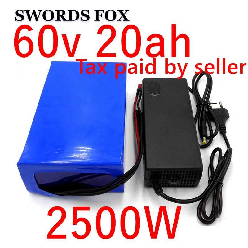 60V 20AH 2500W Lithium ion Battery electric bike battery electric wheelchair e motorcycle battery 30/40A/50A BMS Free duty