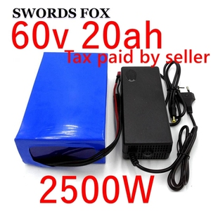 60V 20AH 2500W Lithium ion Battery electric bike battery electric wheelchair e motorcycle battery 30/40A/50A BMS Free duty(China)