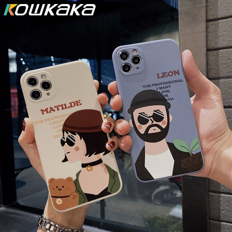 Kowkaka Cartoon Leon Couple Phone Case For iPhone 11 Pro Max 7 8 Plus SE 2020 XS Max XR X Soft Camera Len Protection Back Cover