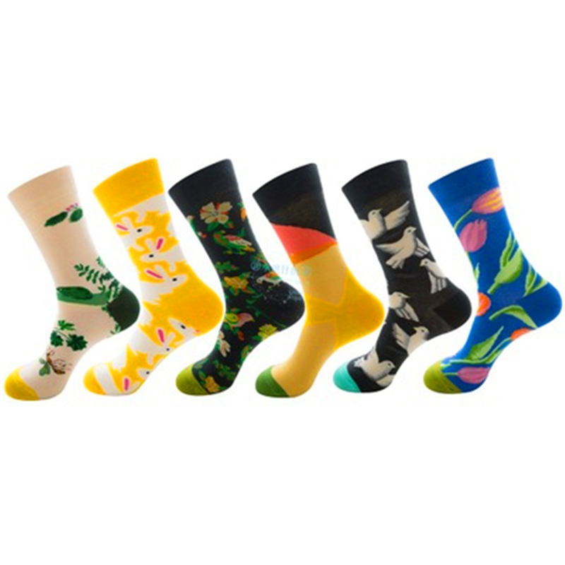 Dove, Tulip, Flower And Bird, Rabbit, Frog, Nature Series, Cotton Socks For Men And Women ZQ029