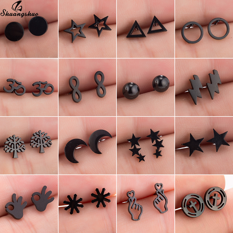 Shuangshuo Cute Small Earring Tiny Earings Mini Stud Earrings For Women Girls Kids Moon Star Life Tree Animal Geometirc Earings