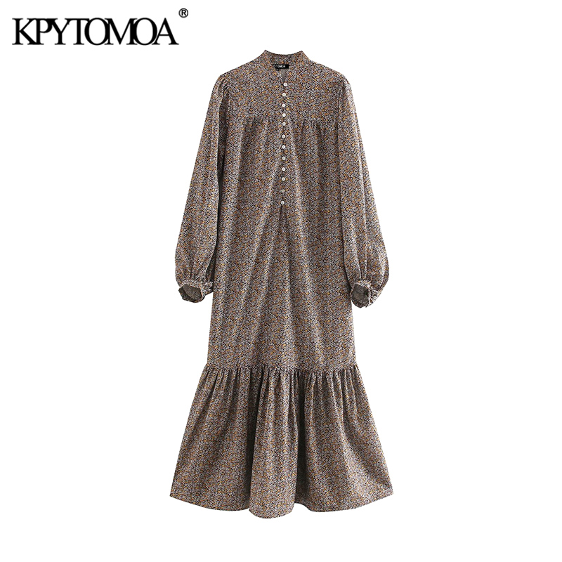 KPYTOMOA Women 2020 Elegant Fashion Floral Print Ruffled Midi Dress Vintage O Neck Long Sleeve Female Dresses Vestidos Mujer