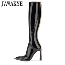 High-Boots Stretch Runway-Style Pointed-Toe Knee Winter Patent Leather Women Fall Thin
