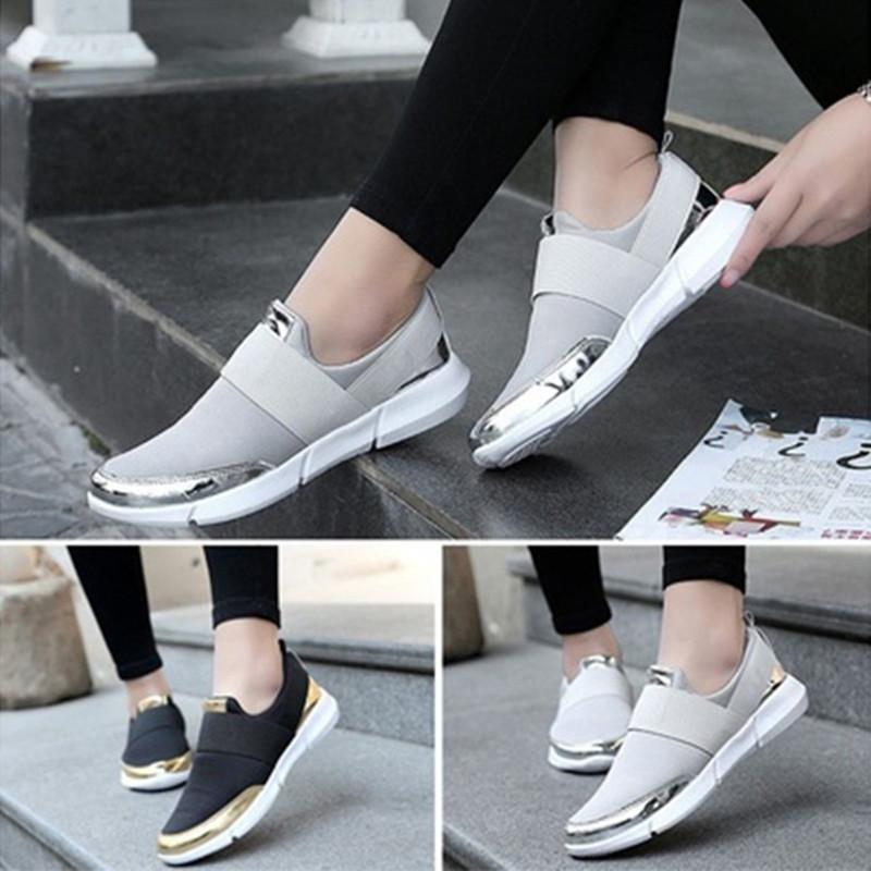 Women's Fashion Casual Breathable Light Weight Comfortable Slip-on Non-Slip Walking Shoes Size 35-42