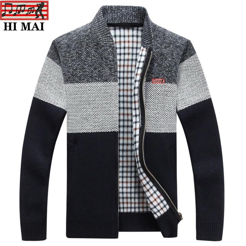 2020 New Men's autumn winter cardigan zipper sweater thickened plus velvet V-neck men's loose warm sweater coat 1209