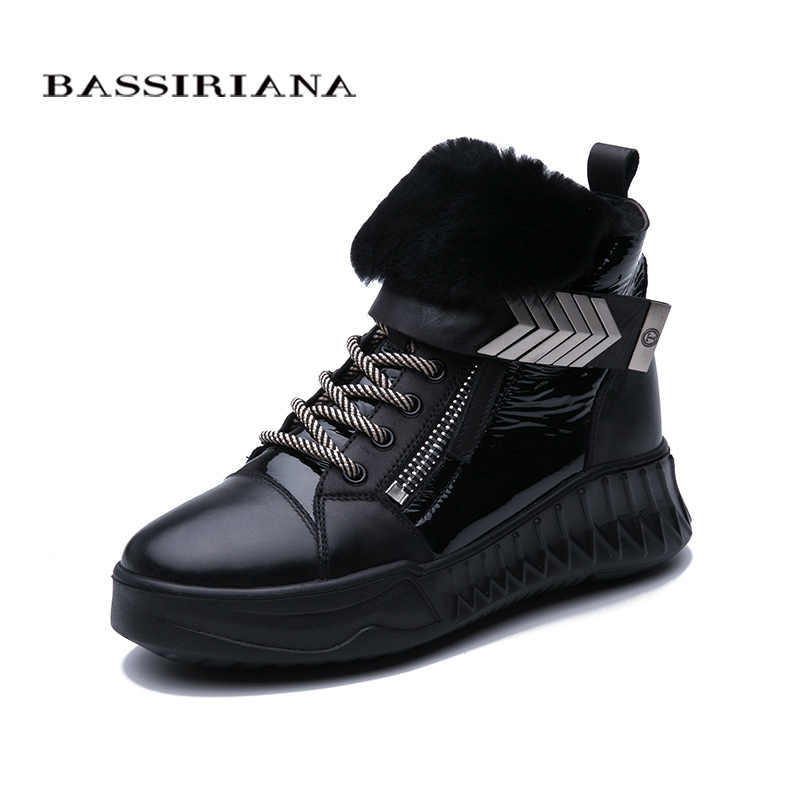BASSIRIANA2019 new winter leather natural wool women's shoes leather slip-resistant platform shoes black short boots