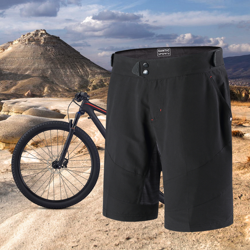Santic Men Cycling Shorts Loose Fit Leisure Short Two Fabric SANTIC R-FEEL Anti-pill Downhill MTB Riding Short Pant M7C05088