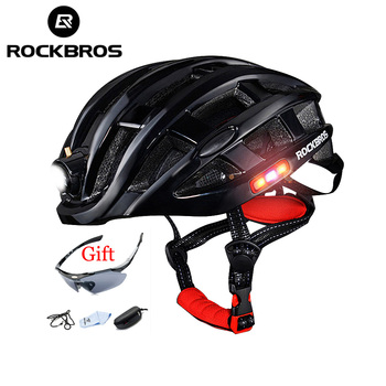 Bicycle Helmet with Light Integrally-molded Cycling Helmet Mountain Road Bike Helmet Waterproof Ultralight Unisex 57-62 CM