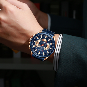Image 4 - Curren marca de luxo relógio masculino azul quartzo relógio de pulso esportes cronógrafo relógio masculino banda aço inoxidável moda negócios